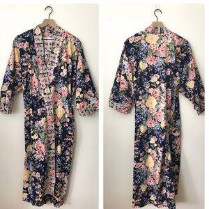 Christian Dior Navy Floral Cotton Bathrobe Sz M